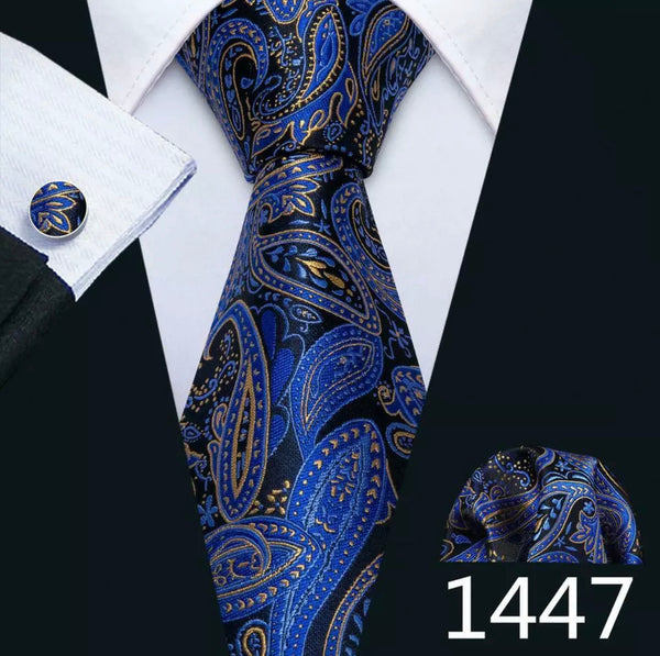 Men's Coordinated Silk Tie Set - Royal Blue Gold Black Paisley