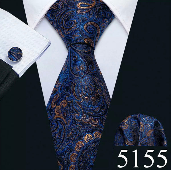 Men's Coordinated Silk Tie Set - Blue Gold Black Paisley