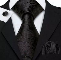 Men's Coordinated Silk Tie Set - Solid Black Paisley