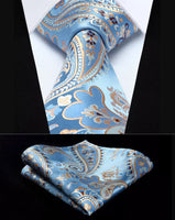 Men's Silk Coordinated Tie Set - Sky Blue Beige Brown Paisley
