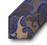Men's Silk Coordinated Tie Set - Blue Brown Black Paisley