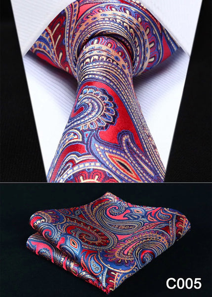 Men's Silk Coordinated Silk Tie Set - Red Purple Paisley