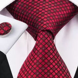 Men's Silk Tie Set - Red Check, Small White Polka Dots
