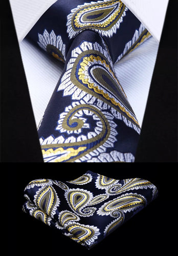 Coordinated Tie Set / Yellow White Black Paisley