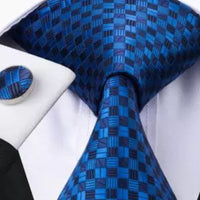 Men's Silk Coordinated Tie Set - Blue Checkered