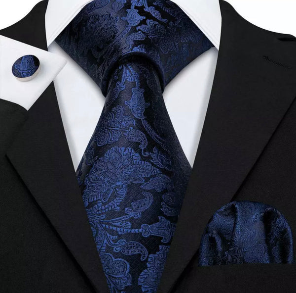 EXTRA LONG Men's Silk Coordinated Tie Set - Solid Blue Paisley