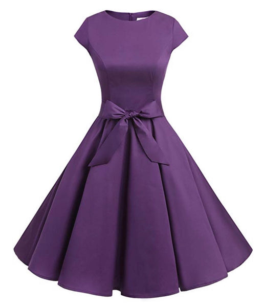 Vintage Inspired Cap Sleeve Dress, Size XS - 3XL, Purple