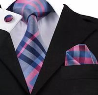 Men's Silk Coordinated Tie Set - Pink & Blue Plaid Stripe