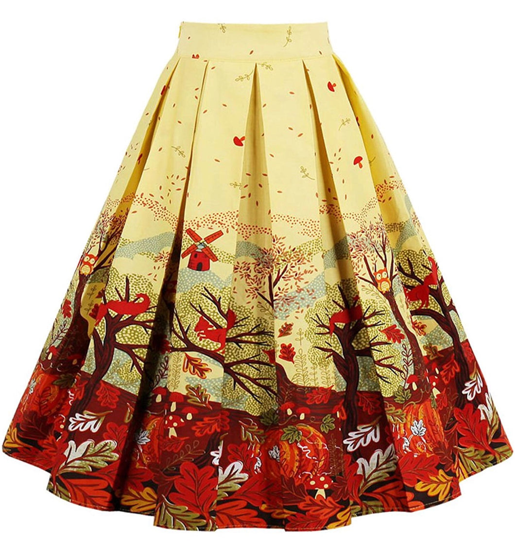 A-Line Pleated Autumn Themed Skirts, Sizes XSmall - 3XLarge