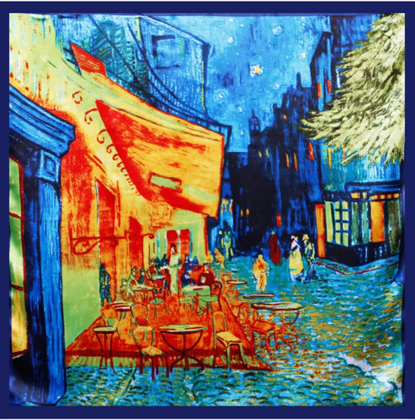 "Beautiful Brand New Van Gogh Print Satin Scarves, 35"" x 35"""