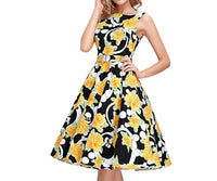 Retro Inspired Cocktail Dress - Yellow Floral, Size Small - XLarge