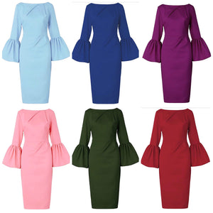 Bell Sleeve Sheath Dress, Sizes US 4- 24W