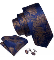Coordinated Men's Silk Tie Set - Blue with Brown Floral