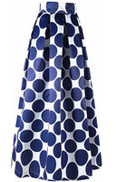 White Contrast Blue Polka Dot Long Skirt, US Sizes 4 - 14