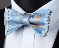 Men's Silk Coordinated Bow Tie Set - Sky Blue Beige Paisley