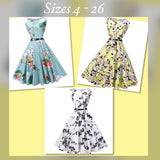 Vintage Inspired Tea Length Dress, US Sizes 4 - 26