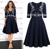 Vintage Inspired Embroidered Cocktail Dress, US Sizes 4 - 16