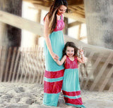 Mommy & Me Lace Stripe Stitching Maxi Dresses, Child 3T -7, Mom Small - 2XL
