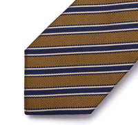 Men's Silk Coordinated Tie Set - Black, Brown, White Striped
