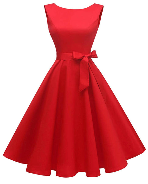 Boatneck Sleeveless Retro Inspired Dress, Sizes XSmall - 3XLarge (US Size 0 - 18W)Red