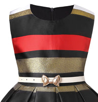 Little girl's gold, red, and black Striped Party Dress, Sizes 2T - 14 years