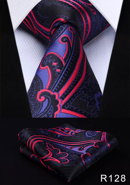 Men's Silk Coordinated Tie Set - Red Purple Black Swirl