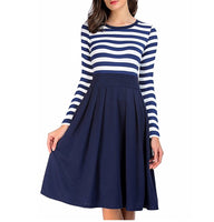 Striped Scoop Neck Dress, US Sizes 4 - 22 (Navy Blue)