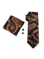 Men's Silk Tie Set - Orange Black Purple Paisley