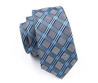 Men's Silk Coordinated Tie Set - Sky Blue Striped