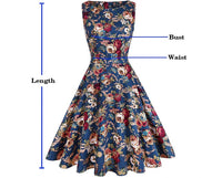 Vintage Inspired Cocktail Dress, Blue Floral