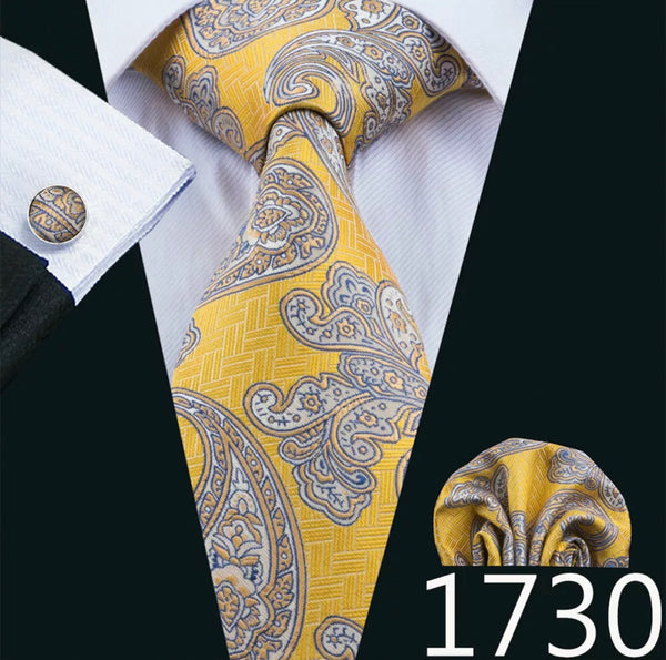 Men's Coordinated Silk Tie Set -  Yellow Beige Paisley