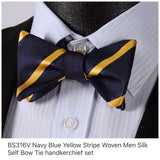Men's Silk Coordinated Bow Tie Set - Navy Blue Yellow Stripe