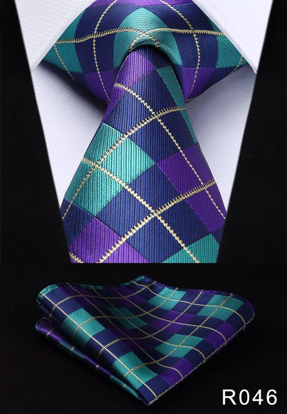 Men's Silk Coordinated Tie Set - Purple Teal Squared