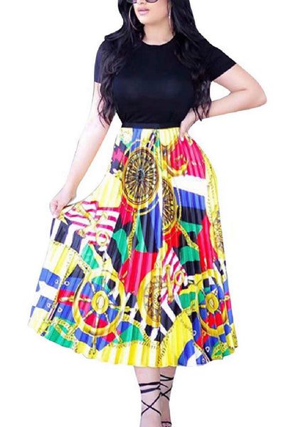 Pleated Print Skirt, Sizes Small - 3XLarge