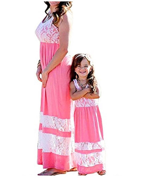 Mommy & Me Lace Stripe Stitching Dress, Child 3T - 7, Mom Small - 2XLarge