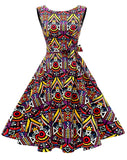 Boatneck Sleeveless Retro Inspired Dress, Sizes XSmall - 3XLarge (US Size 0 - 18W) African Print