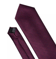 Coordinated Men's Silk Tie Set - Red Burgundy