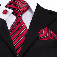 Men's Coordinated Silk Tie Set - Red, Black, White Stripe
