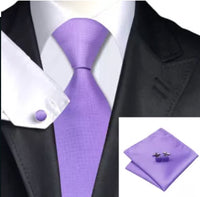 Men's Silk Coordinated Tie Set - Solid Lavender