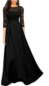 Retro Floral Lace Ruched Formal Gown, Black, US Sizes 4 - 20