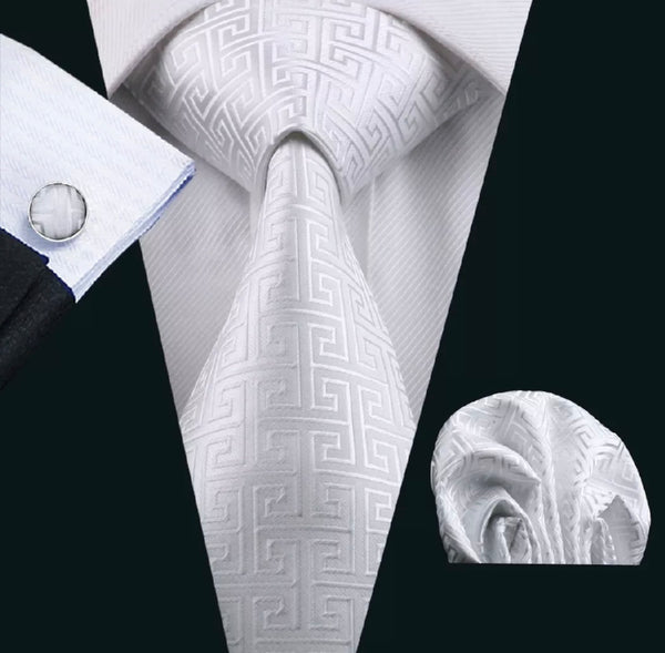 Men's Coordinated Silk Tie Set -  Solid White Maze