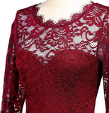 Long Red Lace Patterned Dress, Sizes Small - 2XLarge (US Sizes 4 - 18)