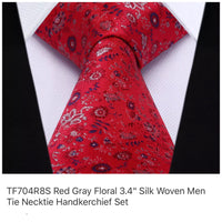 Men's Silk Coordinated Tie Set - Red Gray Floral