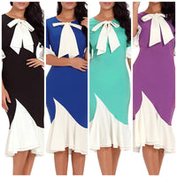 Front Bow Flounce Sleeve Dress, US Sizes 4 - 18
