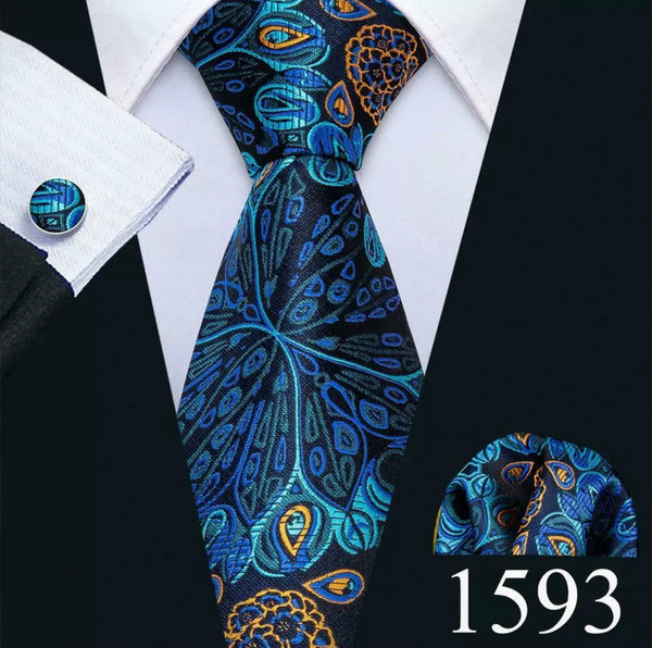 Men's Coordinated Silk Tie Set - Peacock Blue