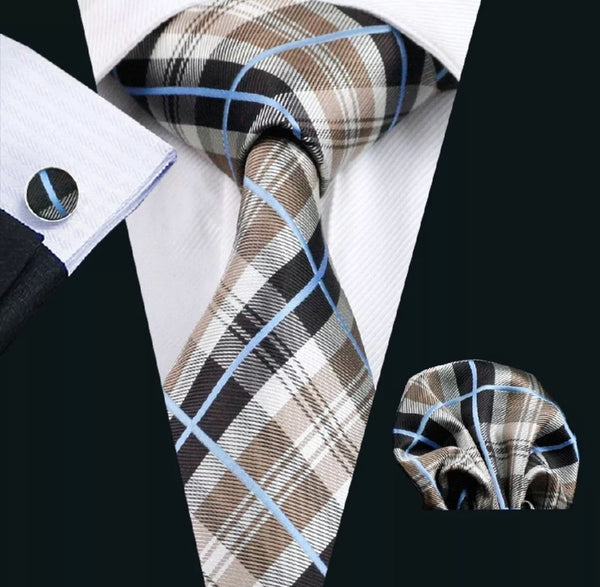 Men's Silk Coordinated Tie Set - Beige Plaid