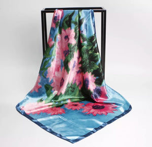 "Floral Oil Painting Satin Scarf/Shawl, 35"" x 35"""