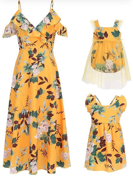 Mommy & Me Floral Print Dresses, Yellow