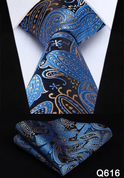 Men's Silk Coordinated Tie Set - Beige Blue Black Paisley