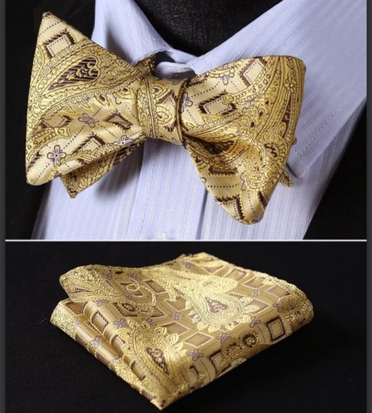✨Men's Silk Bow Tie Set - Gold & Brown